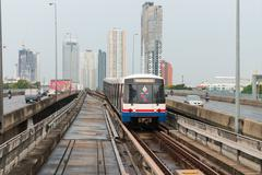 BTS Sky Train, an elevated public transportation system in Bangkok. Stock Photos