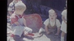 1959: children are seen having fun in a garden area CATSKILL GAME FARM, NEW YORK Stock Footage
