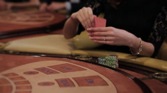 Beautiful Women Playing at the Table Blackjack in a Casino Stock Footage