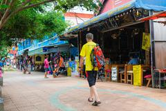 Tourist walking street in Krabi Ao Nang, Thailand Stock Photos