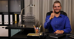 Happy Attractive Businessman Looking Camera Hand Gestures Thumb Up Sign Office Stock Footage