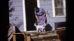 1960: a dog stands in front of doorway between woman entering and child walking Stock Footage