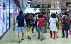 Crowded MRT rail station in Bangkok. Stock Photos