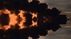 Greenhouse effect. Black smoke from the factories. Air pollution. Reflection Stock Footage