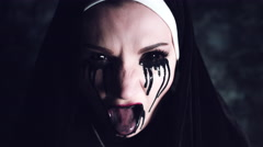 4k Halloween Shot of a Horror Nun Coughing all Dirty  Stock Footage