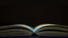 Book concept of space. Immerse yourself in reading a book Stock Footage