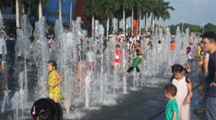 Children bathe in the fountain. China Stock Footage