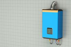 Blue home gas-fired boiler, water heater Stock Illustration