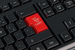 Add to cart red keyboard button Stock Illustration