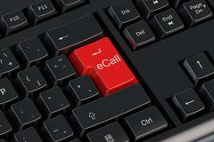 Ecall red keyboard button Stock Illustration