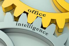 Office Intelligence concept on the gearwheels Stock Illustration