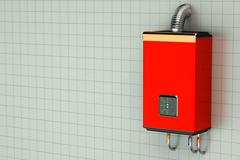 Red home gas-fired boiler water heater Stock Illustration