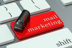 Mail marketing concept, red hot key on the keyboard Piirros