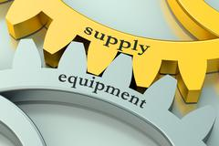 Supply Equipment concept on the gearwheels Stock Illustration