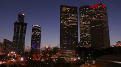 Skyline of Tel Aviv: skyscrapers time lapse during sunset Stock Footage
