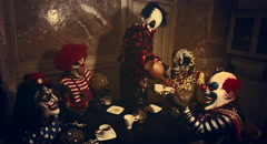 Clowns drinking tea. Horror Halloween. Stock Footage