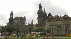 Tilt shot of Theaterplatz in Dresden Stock Footage