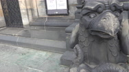 4k St. Peter's Cathedral outside front sculture close up Bremen city Stock Footage