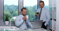 Confident Businessmen Colleague Drink Hot Coffee Warm Tea Energizing Time Office Stock Footage