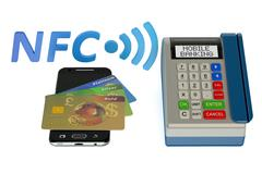 POS-terminal with credit card and smartphone, NFC concept Stock Illustration