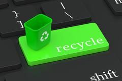 Recycle concept on keyboard button Stock Illustration