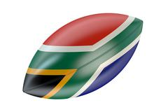 Rugby Ball with flag of South Africa Stock Illustration