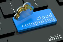 Cloud computing concept on blue keyboard button Piirros
