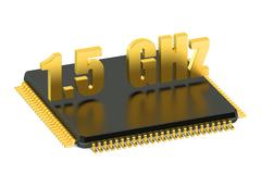 CPU chip for smatphone and tablet 1.5 GHz frequency Stock Illustration