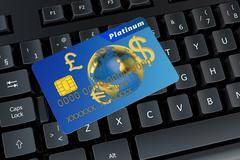 Credit card on a computer keyboard Stock Illustration