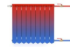 Distribution of heat flow in the radiator Stock Illustration