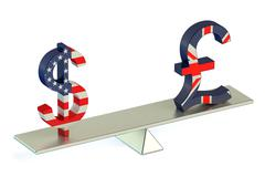 Dollar or Pound Sterling, USD/GBR balance concept Piirros