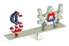 Dollar or South Korean won, USD/KRW balance concept Stock Illustration