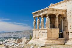Caryatids at Porch of the Erechtheion, Acropolis Stock Photos