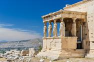 Caryatids at Porch of the Erechtheion, Acropolis Stock Photos