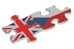 Czech Republic and Great Britain puzzles from flags Stock Illustration