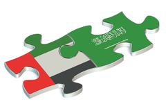 Saudi Arabia and United Arab Emirates puzzles from flags Stock Illustration