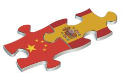Spain and China puzzles from flags Stock Illustration