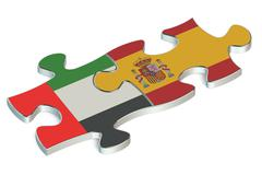 Spain and United Arab Emirates puzzles from flags Stock Illustration