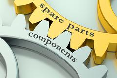 Spare parts and component concept on the gearwheels Stock Illustration