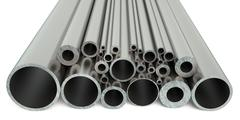 Steel pipes 3D rendering Stock Illustration