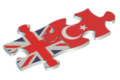 Turkey and Great Britain puzzles from flags Stock Illustration