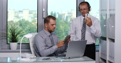 Businessmen People Listen Music Headphones Watching Reading Newspaper Office Day Stock Footage