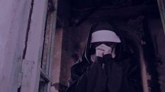 Zombie nun. devilish woman in nun costume walking around the temple. halloween Stock Footage