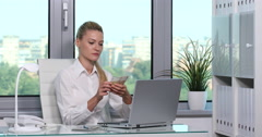 Handsome Businesswoman Counting Money Euro Bills Payday Company Office Interior Stock Footage