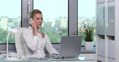 Optimistic Handsome Businesswoman Call Discussion Mobile Phone Partner Office Stock Footage