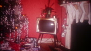 The night before Christmas in American home, 3650 vintage film home movie Stock Footage