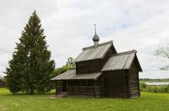 Russian wooden architecture museum exhibits. Stock Photos