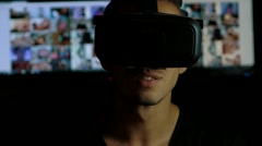 Man watching pornography using Virtual Reality headset. Arkistovideo