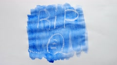 Rip grave text inscription watercolor artist paints blot isolated on white Stock Footage