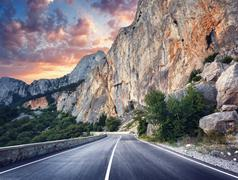 Asphalt road. Colorful landscape with beautiful mountain road Stock Photos